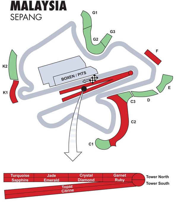 Malaysian Formula One Sepang Circuit  Race Tickets And